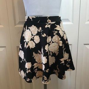 F21 Black Pink Floral Rose Skater Circle Skirt S